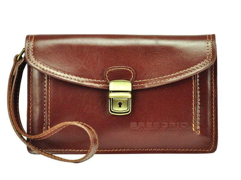 Hnedá kožená pánska dokladová taška / etue Gregorio
