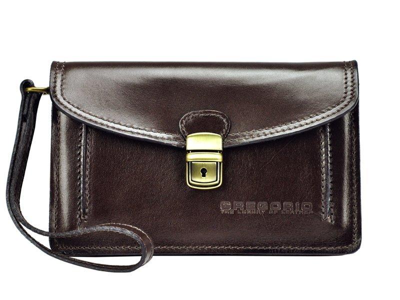 Tmavě hnědá kožená pánská dokladová taška / etue Gregorio