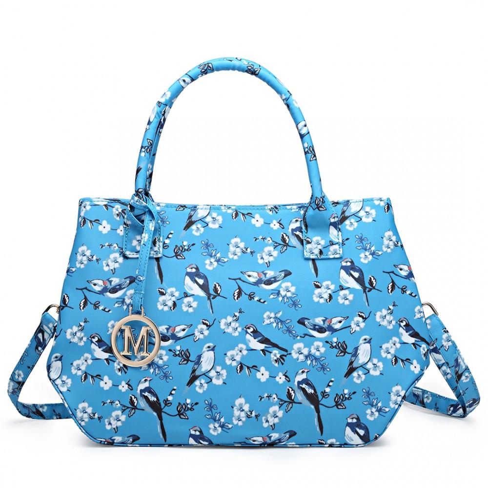 Nadčasová svetlo modrá kabelka s vtáčikmi Miss Lulu
