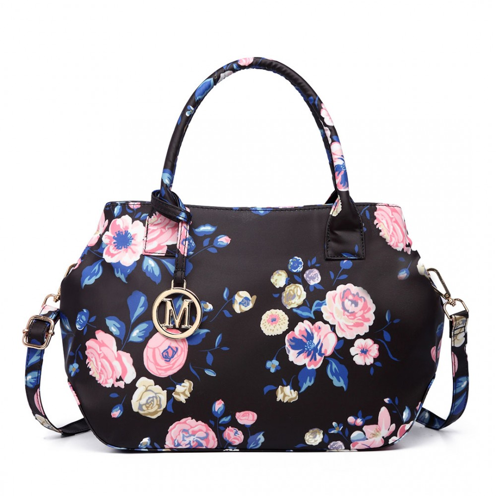 Nadčasová tmavo modrá kabelka s kvetinami Miss Lulu