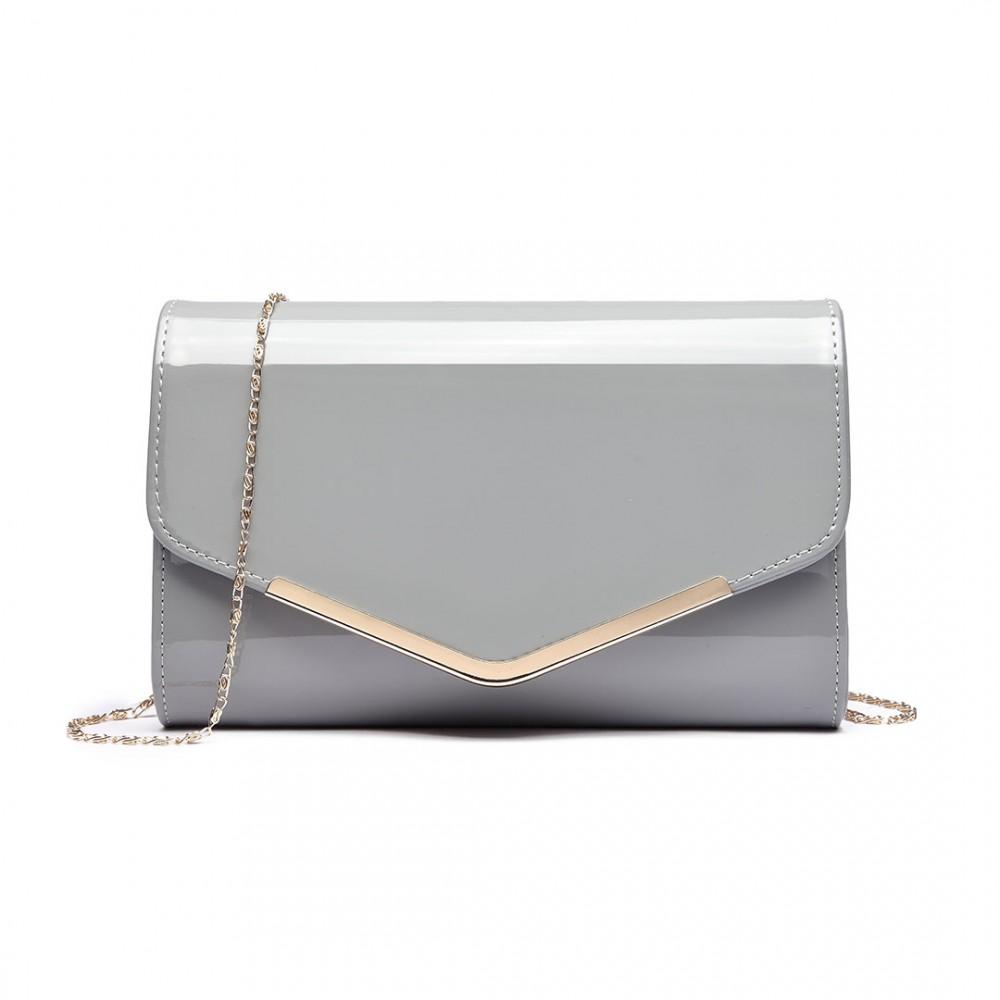 Dámska elegantná listová kabelka Miss Lulu šedý lak