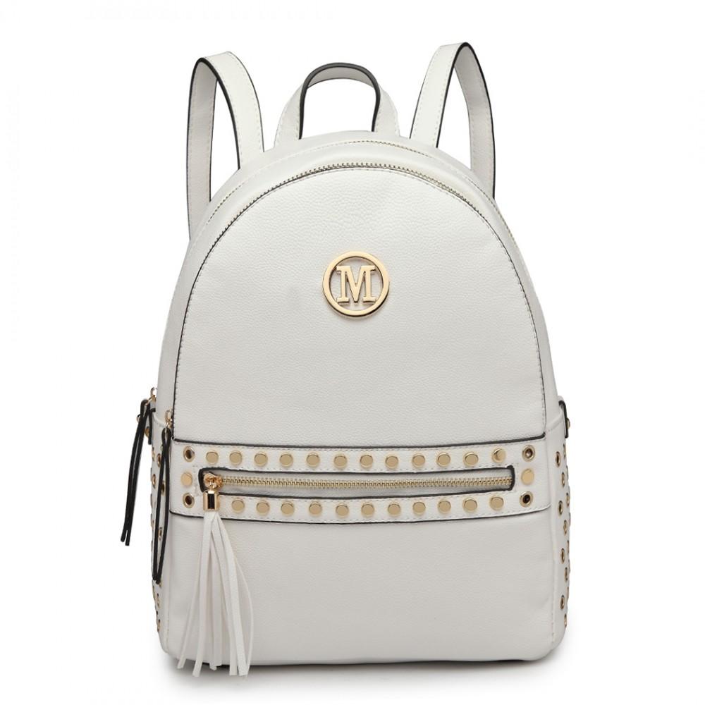Bílý dámský stylový batůžek Miss Lulu