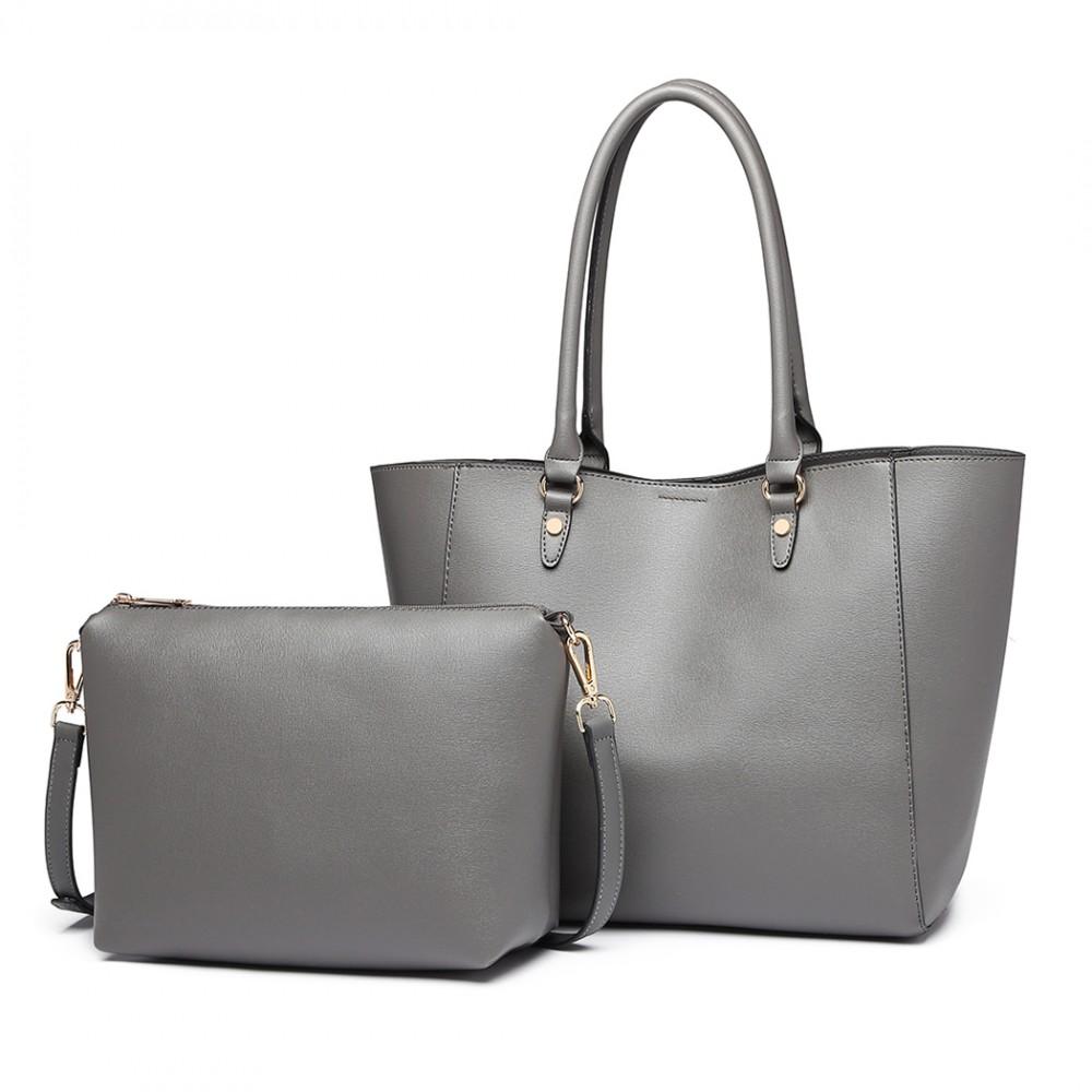 Praktický šedý dámsky kabelkový set 2v1 Miss Lulu