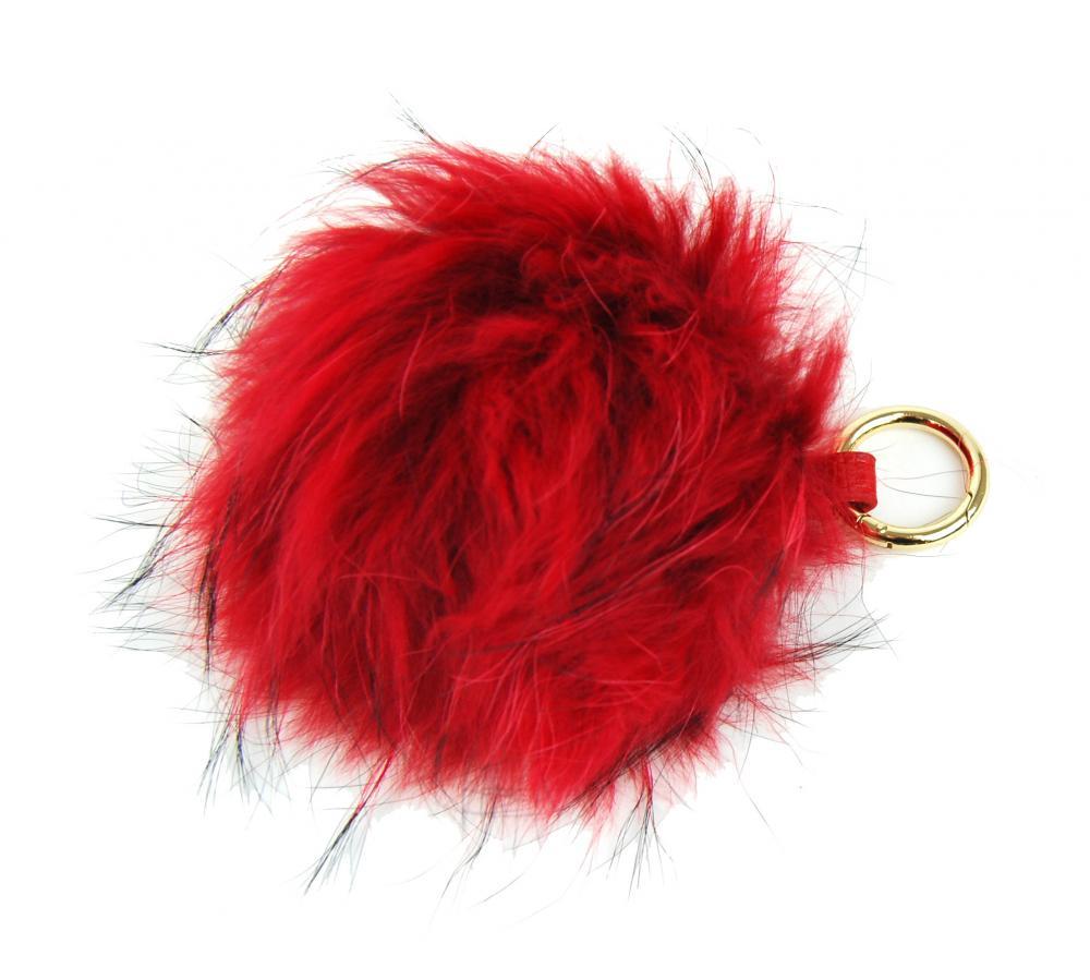 Červená kožušinová brmbolce z líšky - ozdoba na kabelku