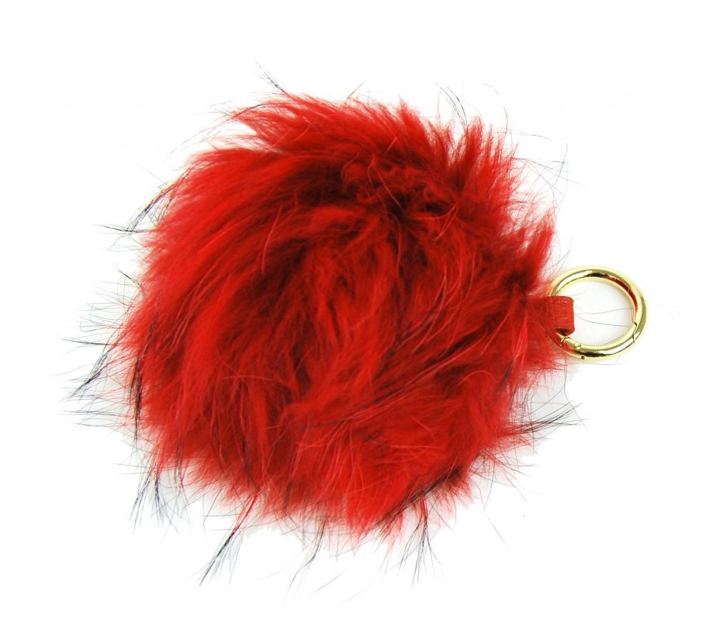 Oranžová kožušinová brmbolce z líšky - ozdoba na kabelku