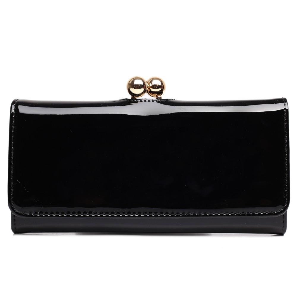 Módní dámská peněženka černá lakovaná Miss Lulu