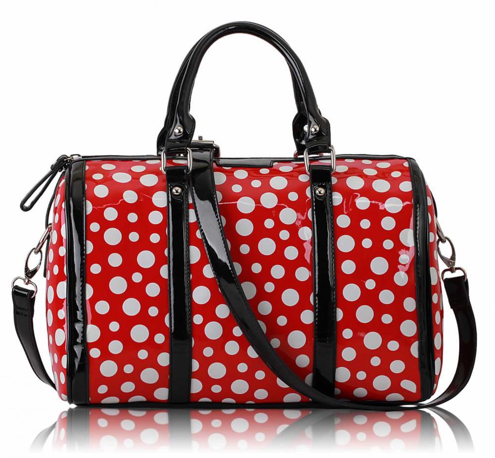Červenobílá kabelka do ruky LS Fashion LS0069