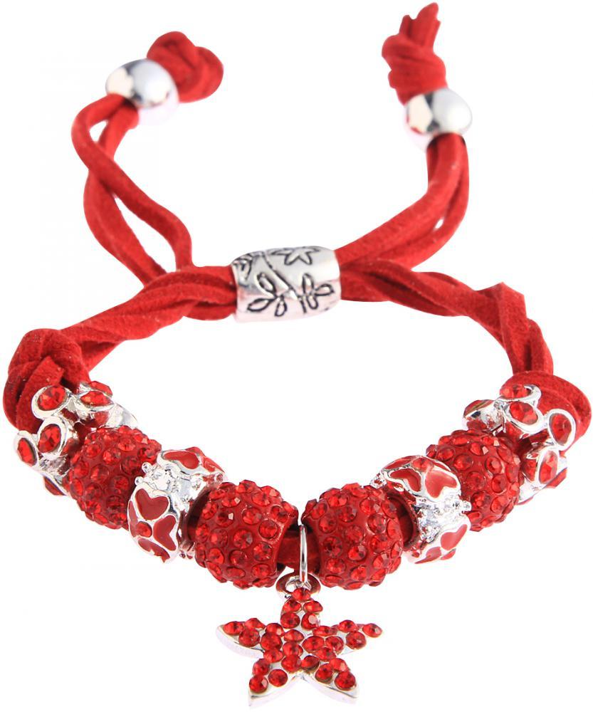 Shamballa červený náramok s hviezdou LS Fashion LSB0037