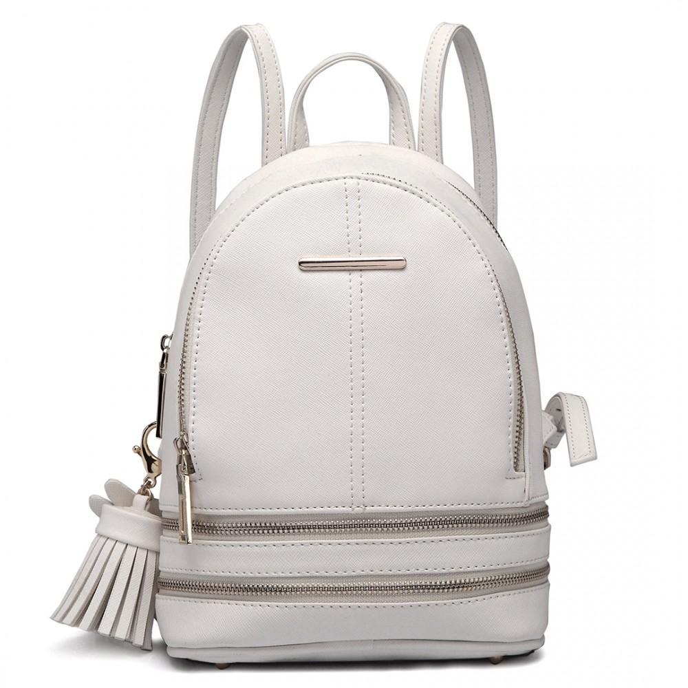 Roztomilý dizajnový biely dámský batôžtek Miss Lulu