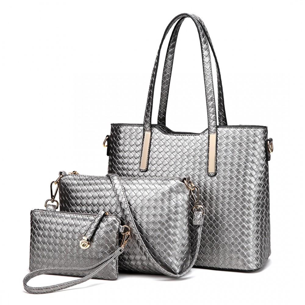 Praktický lakovaný dámsky kabelkový set 3v1 Miss Lulu sivá