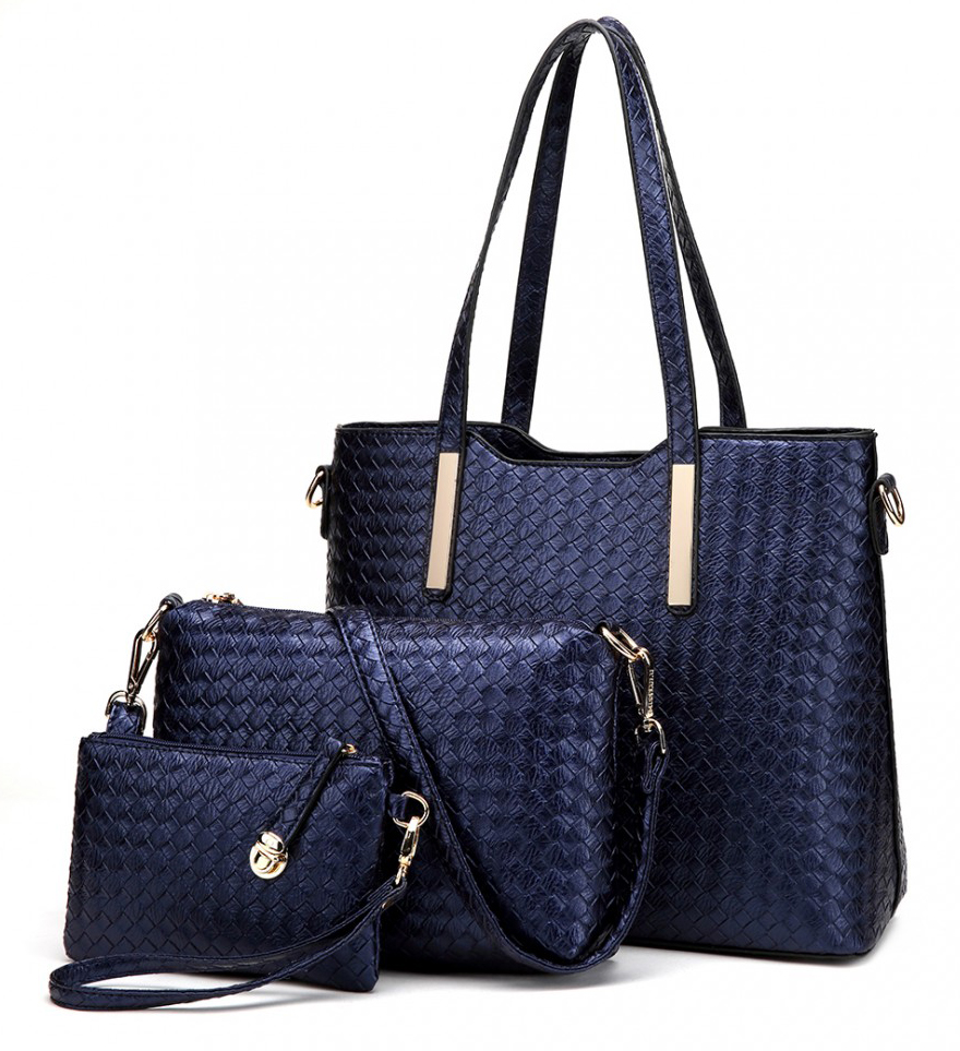 Praktický lakovaný dámsky kabelkový set 3v1 Miss Lulu modrá