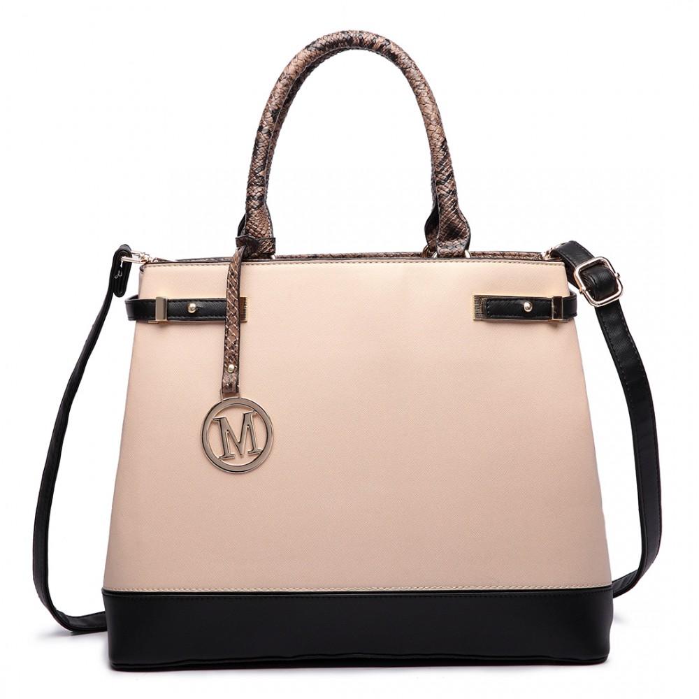 Béžová moderní business kabelka Miss Lulu