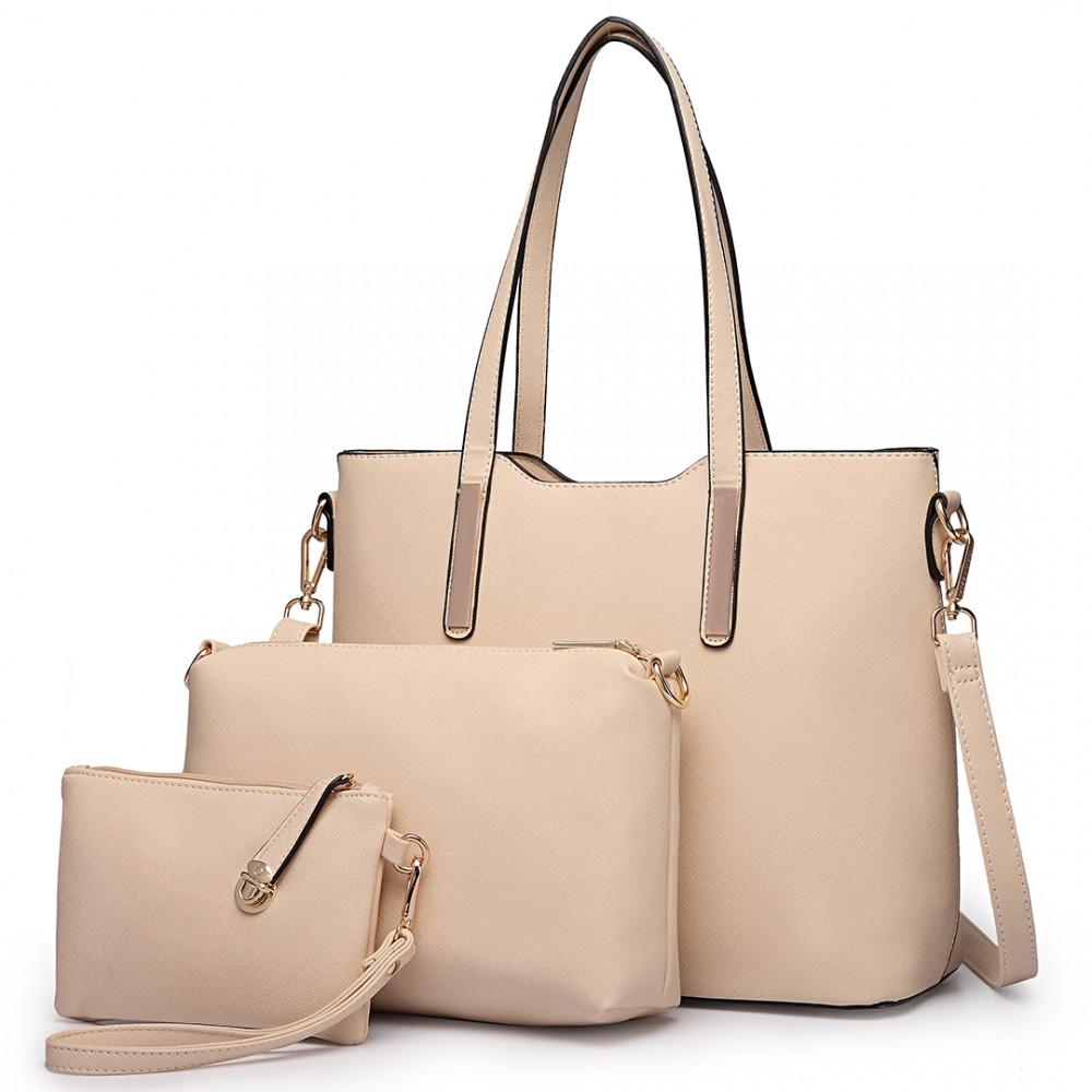 Praktický dámsky kabelkový set 3v1 Miss Lulu béžová