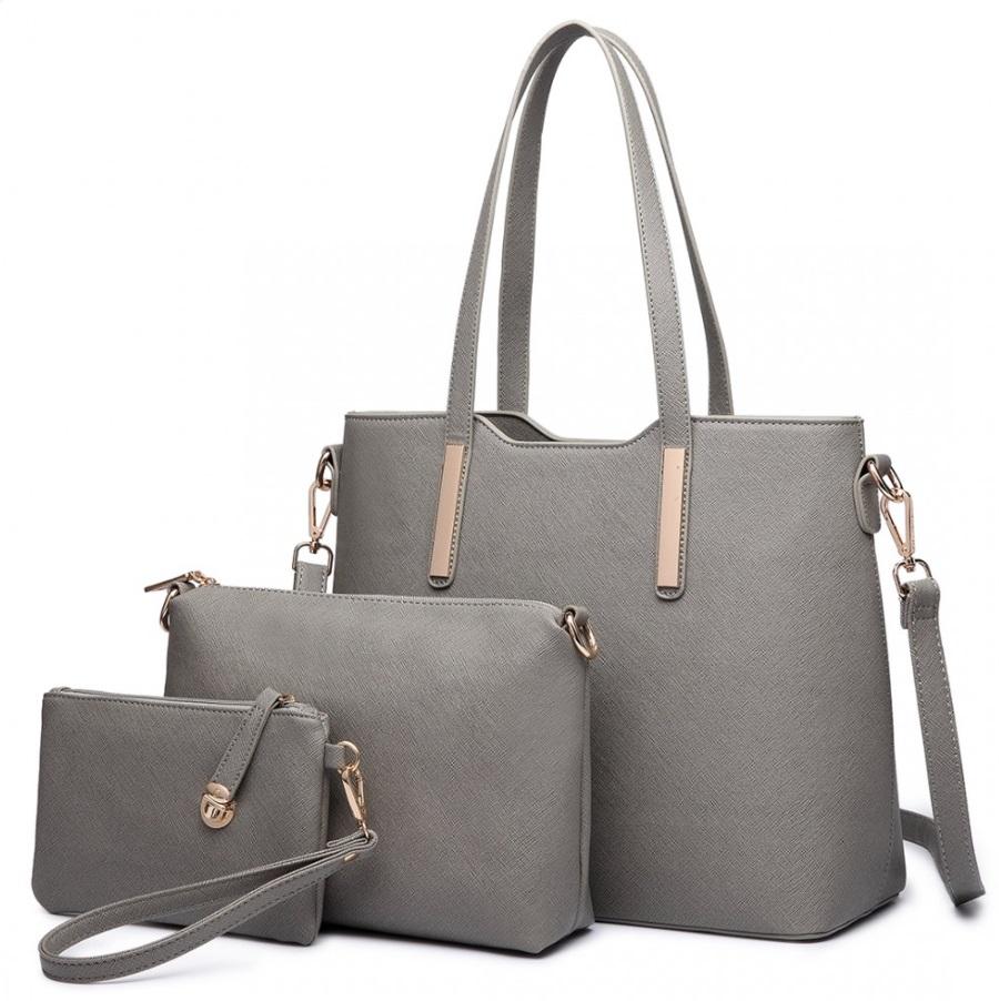 Praktický dámsky kabelkový set 3v1 Miss Lulu sivá