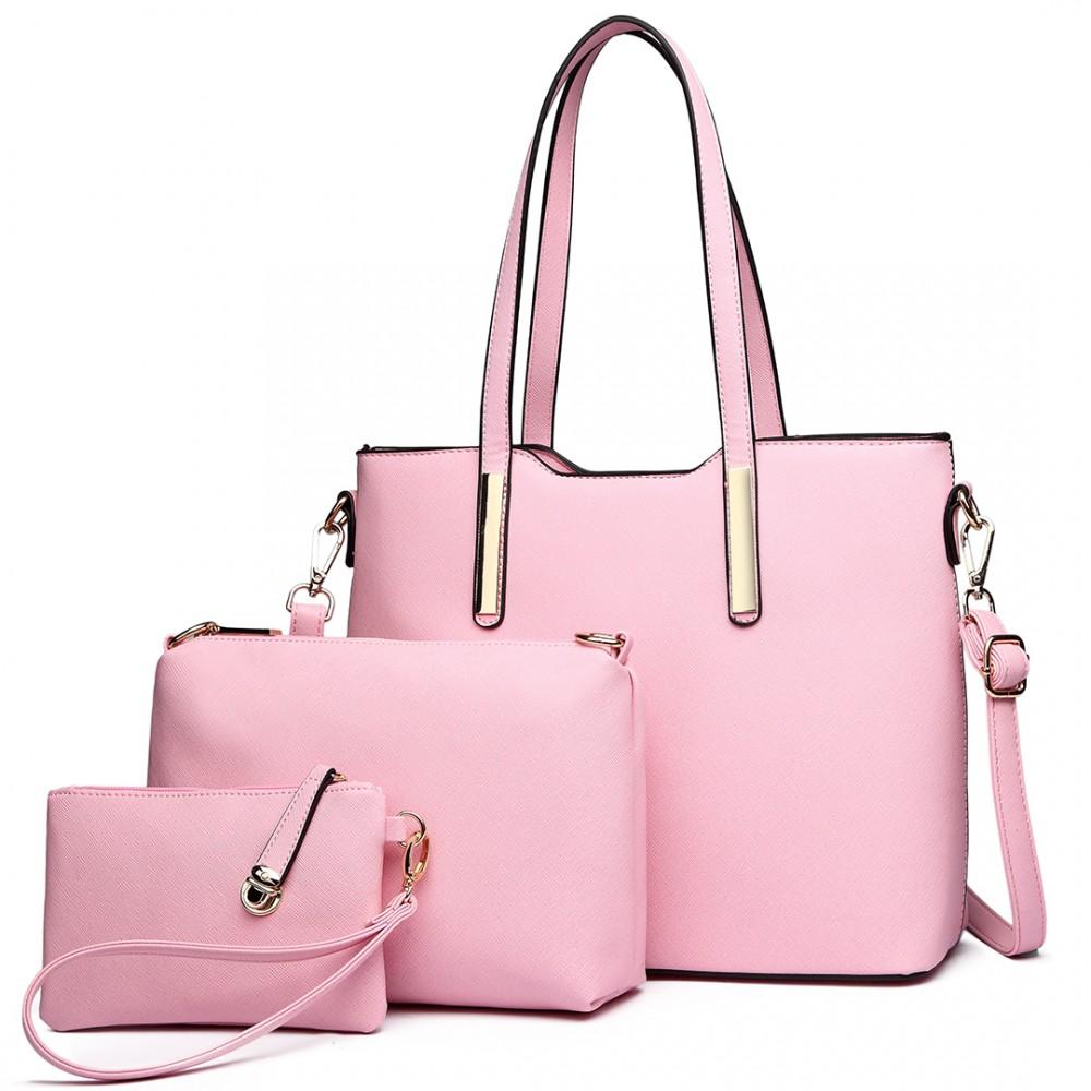Praktický dámsky kabelkový set 3v1 Miss Lulu svetlo ružová