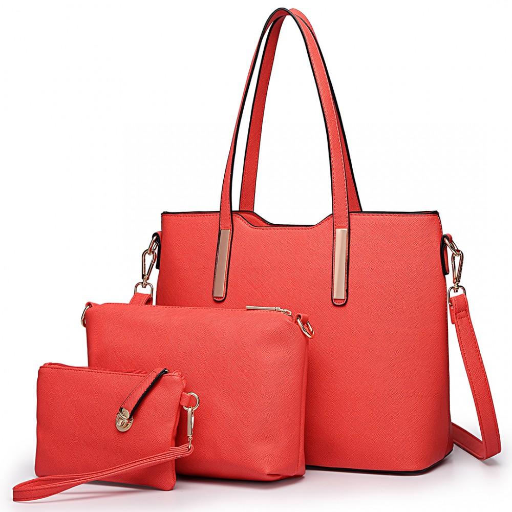 Praktický dámsky kabelkový set 3v1 Miss Lulu červená