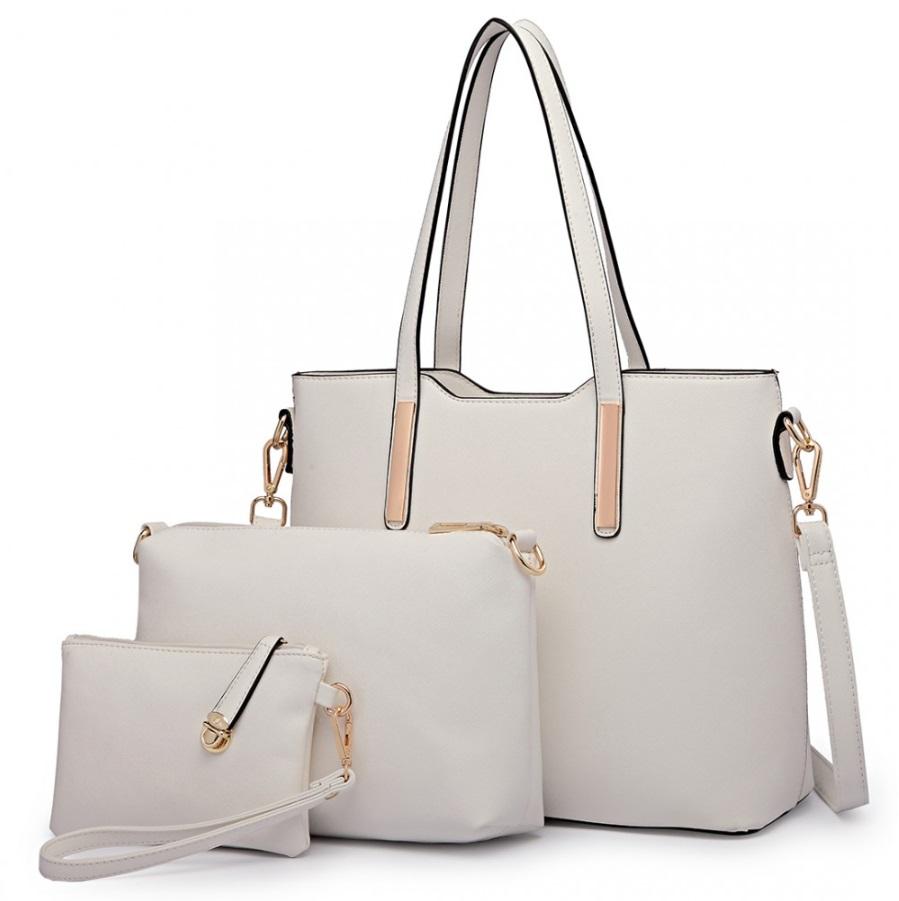 Praktický dámsky kabelkový set 3v1 Miss Lulu biela