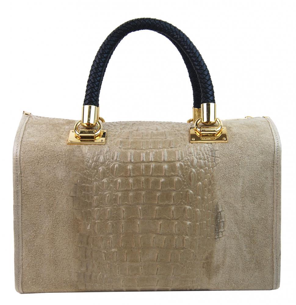 Kožená dámská kabelka Marianne šedo-hnědá