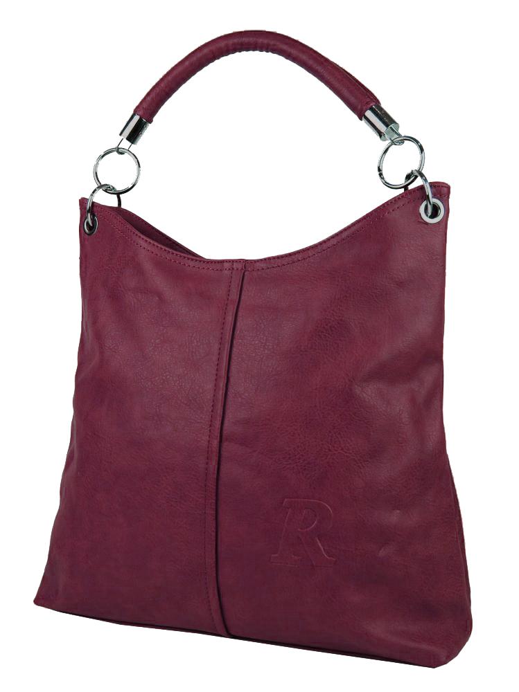 Moderní velká kabelka přes rameno 54-MH vínová červená