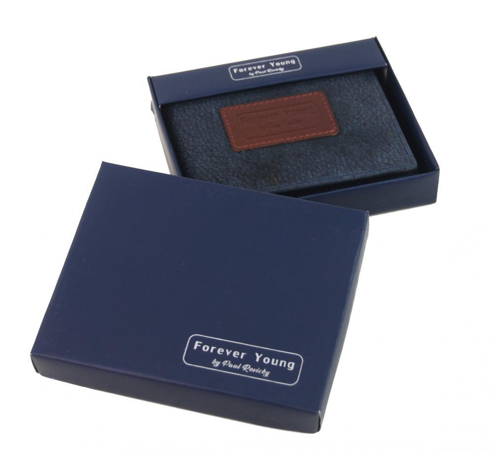 Modrá pánská kožená peněženka v krabičce RFID Forever Young