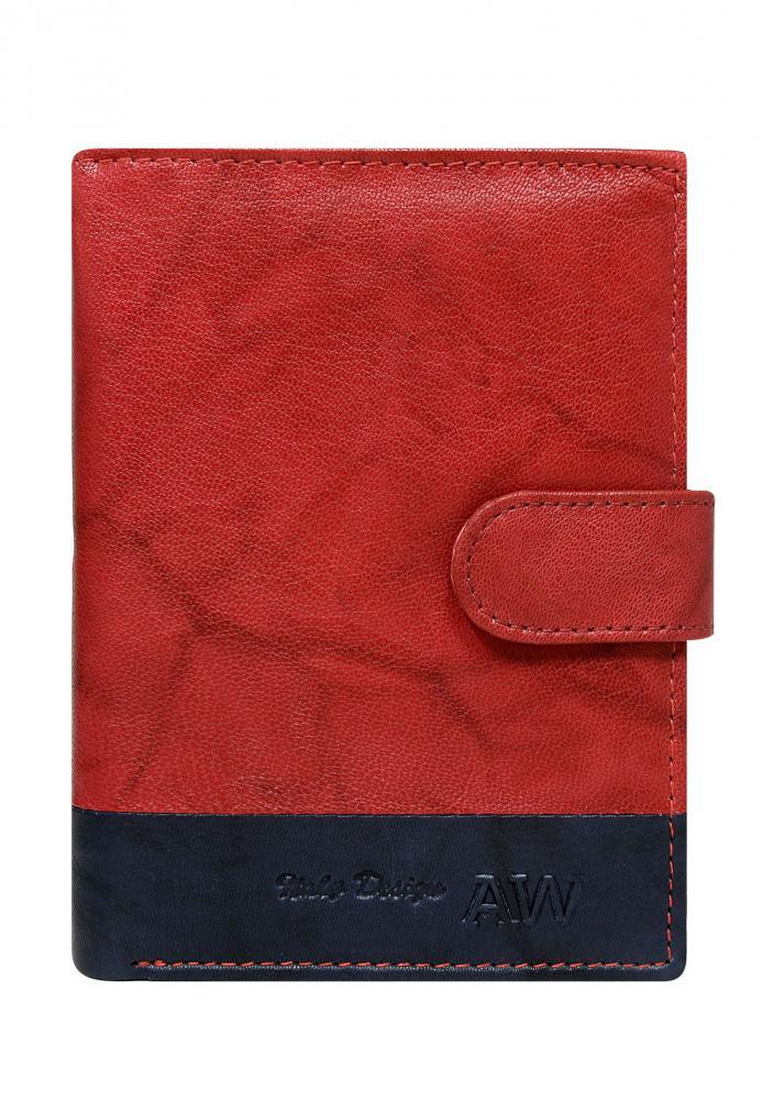 Kožená červená pánská peněženka WILD