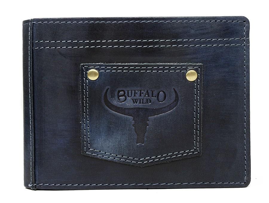 Kožená pánská peněženka modrá v krabičce WILD