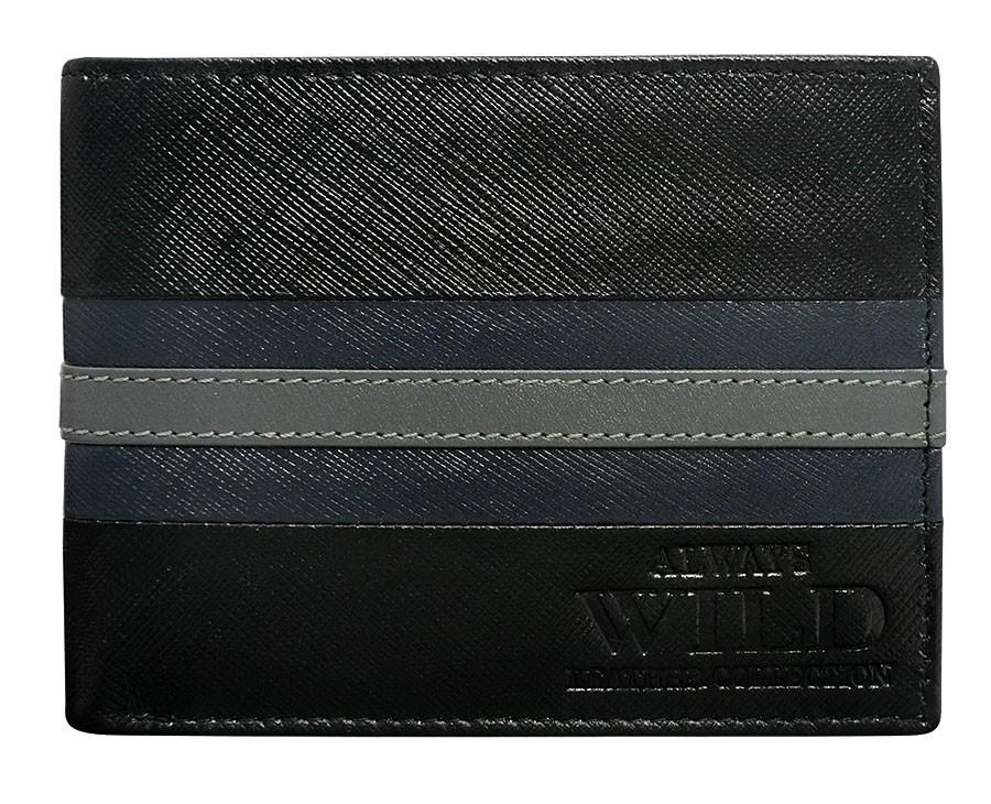 Pánská kožená peněženka černo-modrá v krabičce WILD