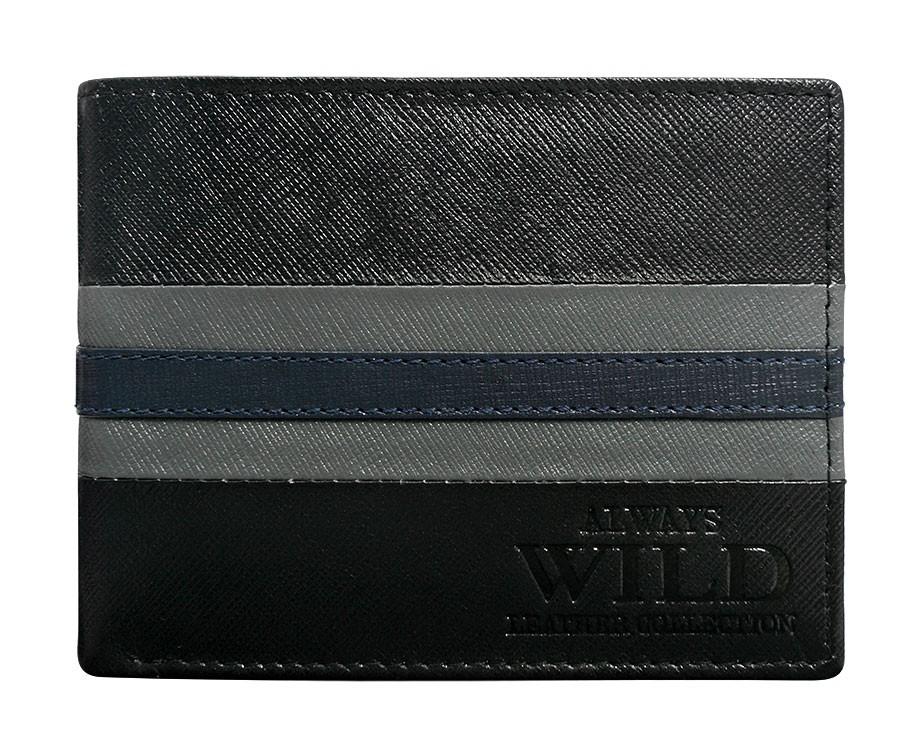 Pánská kožená peněženka černo-šedá v krabičce WILD