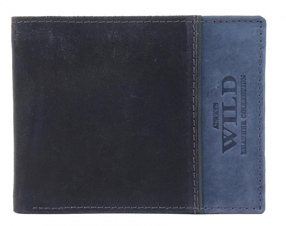 Modrá pánská kožená broušená peněženka v krabičce WILD