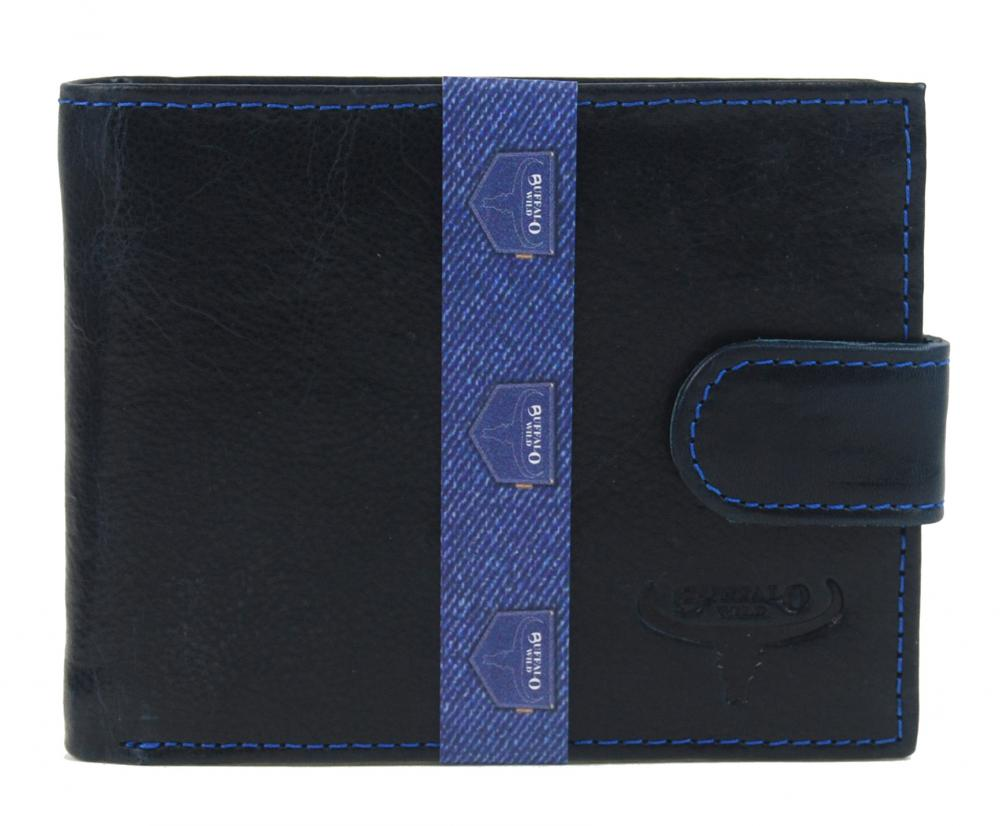 Modrá pánská kožená peněženka RFID v krabičce WILD