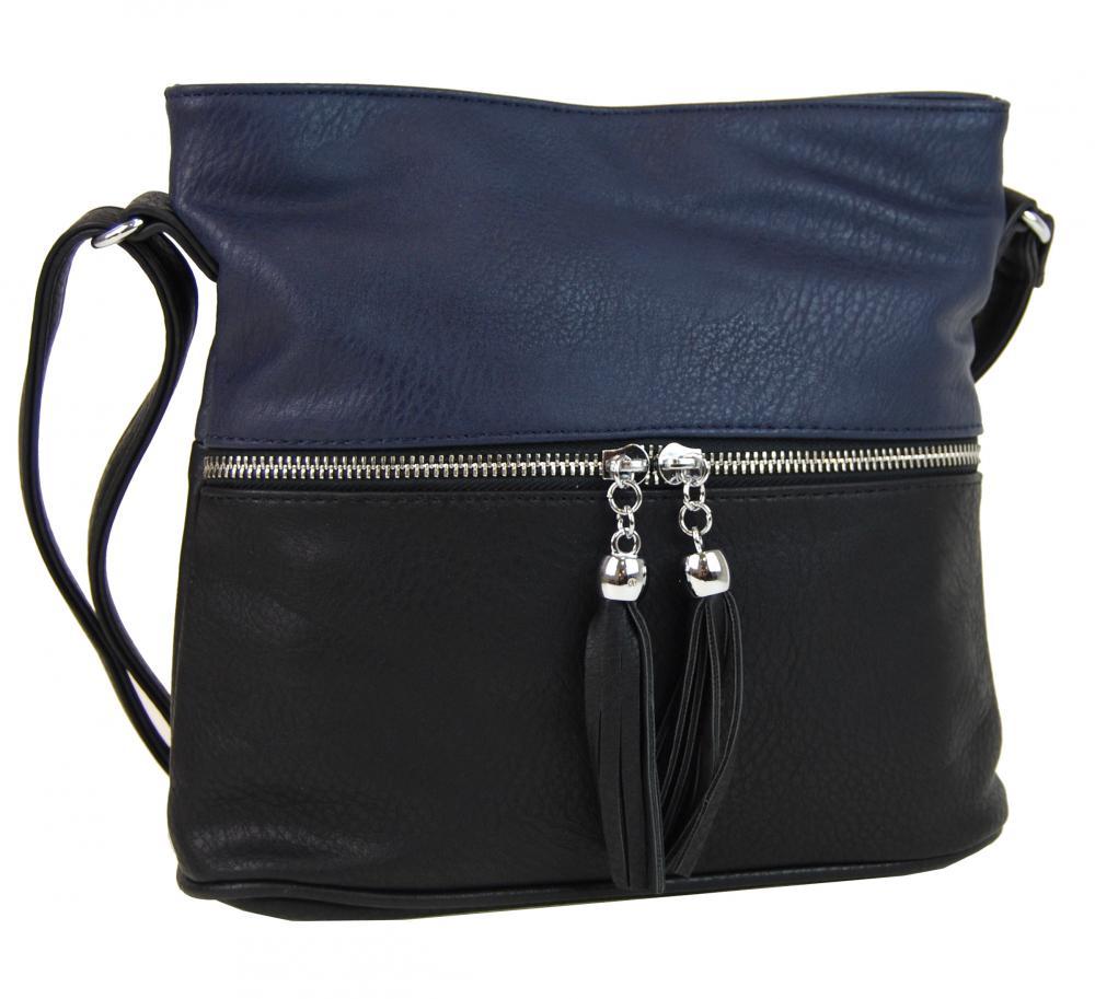 Malá crossbody kabelka se stříbrným zipem NH6020 černo-modrá