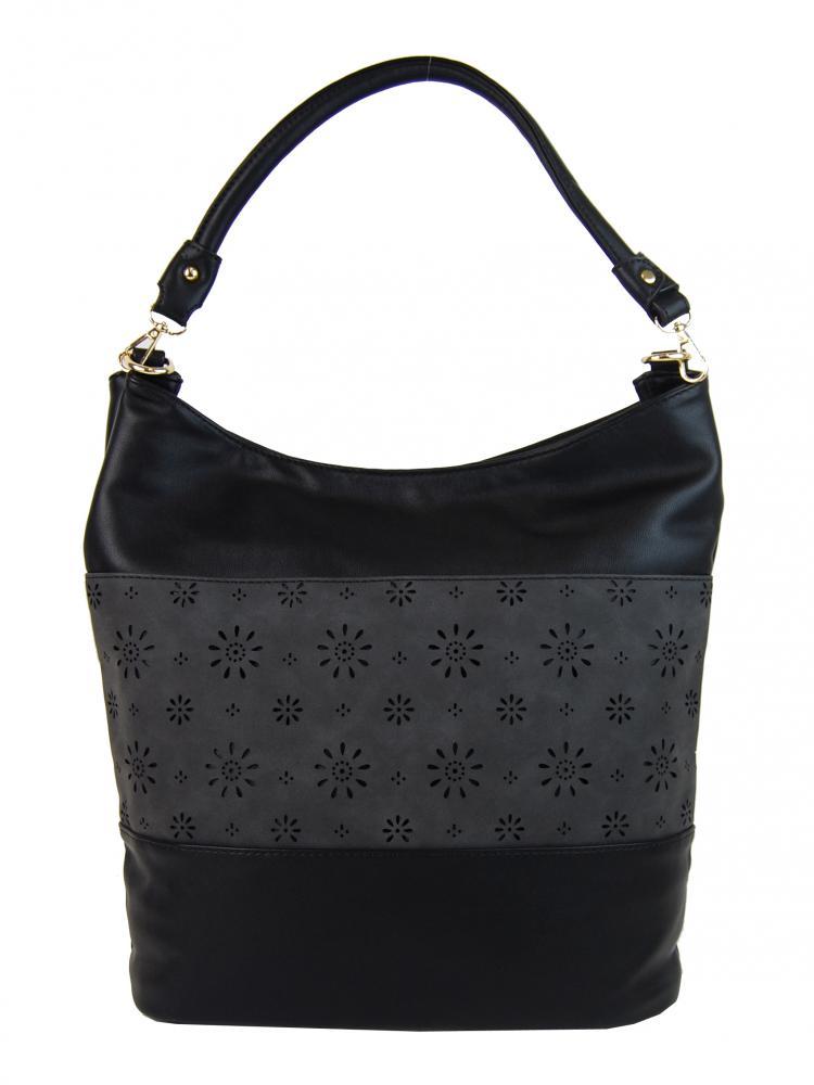 Kombinovaná dámská kabelka se vzorem NH6075 černá