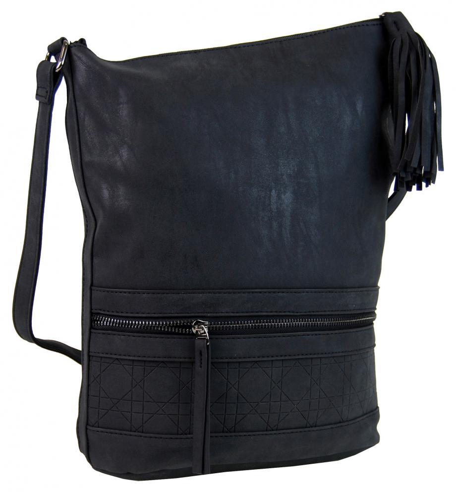 Asymetrická dámska brúsená crossbody kabelka 16011 čierna