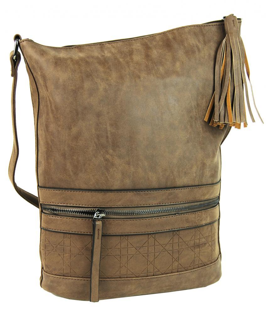 Asymetrická dámská broušená crossbody kabelka 16011 přírodní hnědá