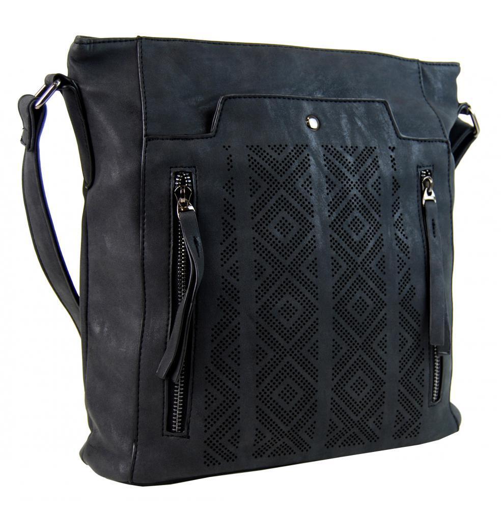 Dámská broušená crossbody kabelka 16028 černá