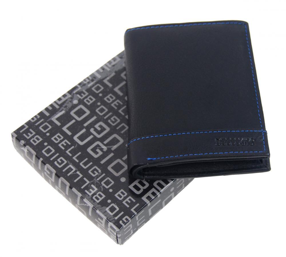 Bellugio černo-modrá pánská kožená peněženka v dárkové krabičce