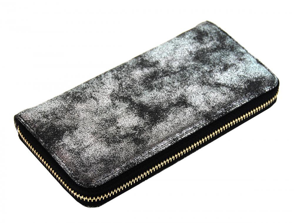 Praktická dámska čierna peňaženka so striebornou patinou 030-BB