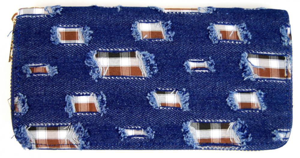 Moderní riflová peněženka se záplatami T483 tmavě modrá riflovina