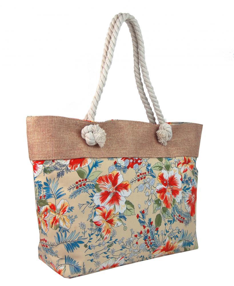 Letní lehká plážová taška růžová s kvítky SP-A