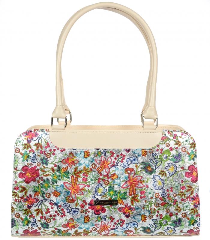 Béžová dámska kabelka v motíve kvetov S728 GROSSO