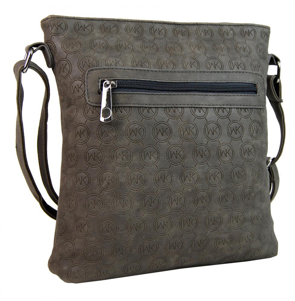 Dámská crossbody kabelka s ražením R820 šedá  d837c476867