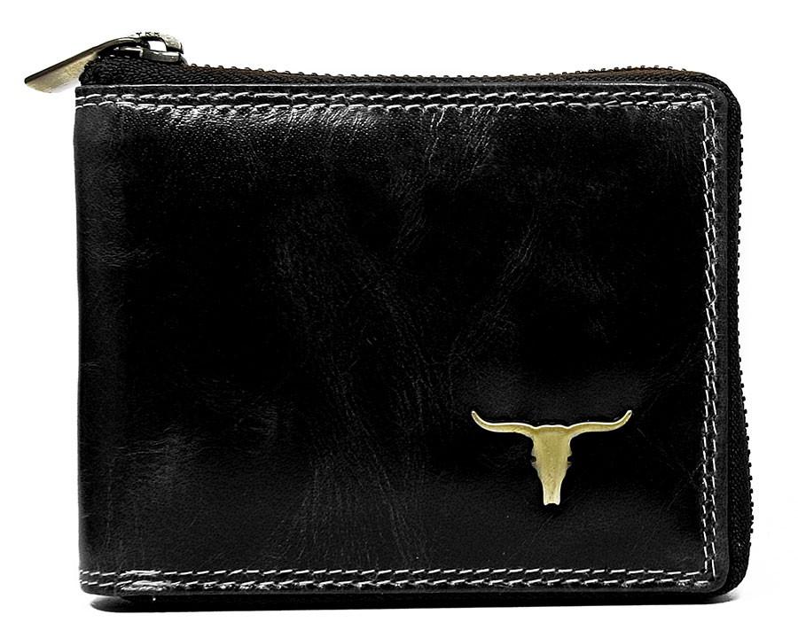 Černá pánská kožená peněženka RFID obvodový zip v krabičce WILD
