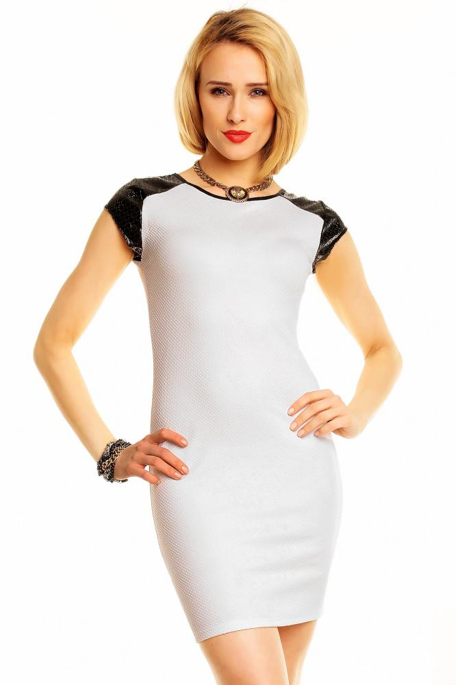 Dámske šaty Flam Mode bielo-čierne, M