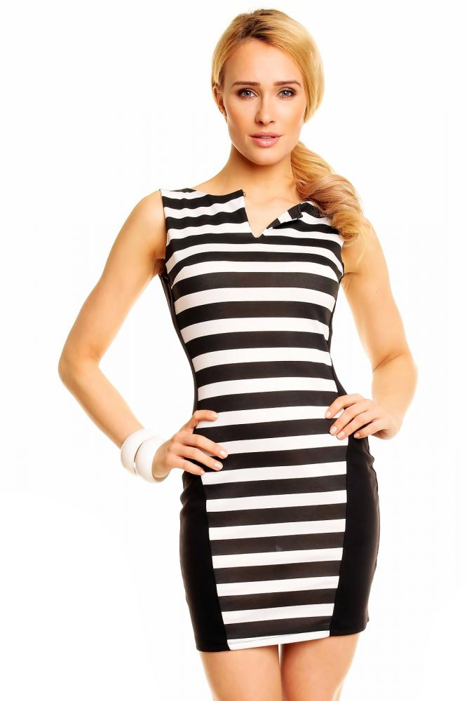 Dámske šaty New Collection bielo-čierne, S