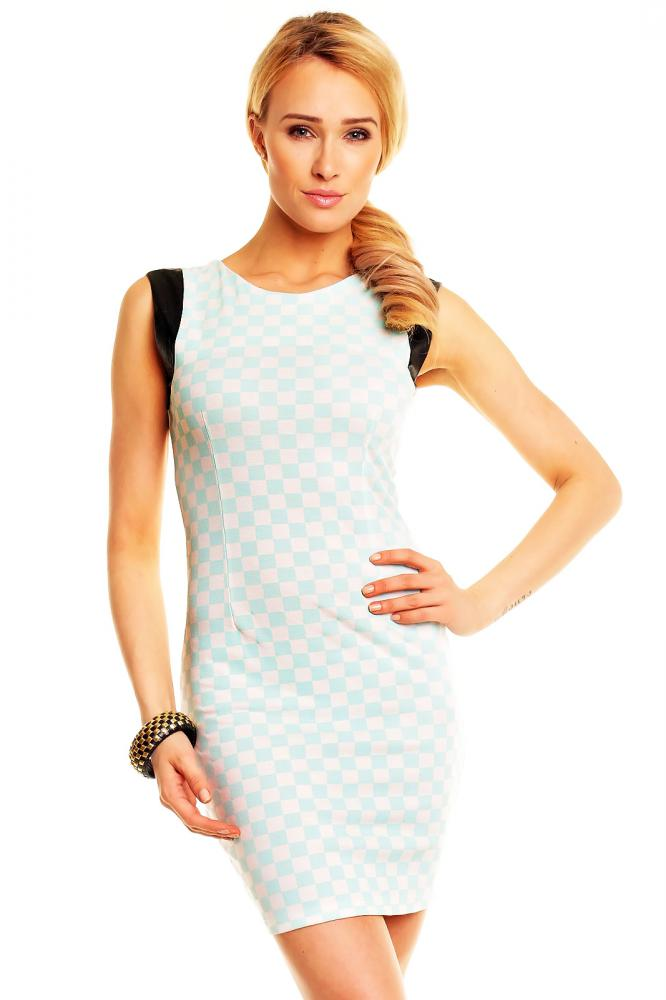 Dámske šaty New Collection aqua-bielo-čierne