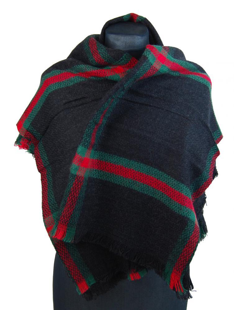 NEW BERRY dámsky pletený šál / pléd BC717 čierny