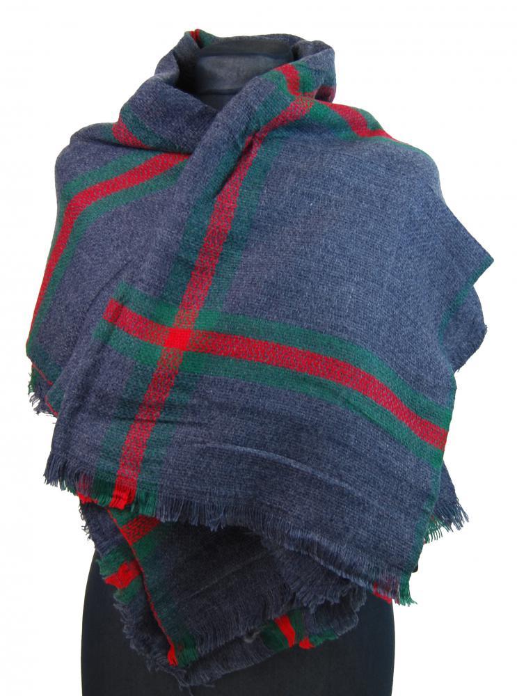 NEW BERRY dámsky pletený šál / pléd BC717 modrý