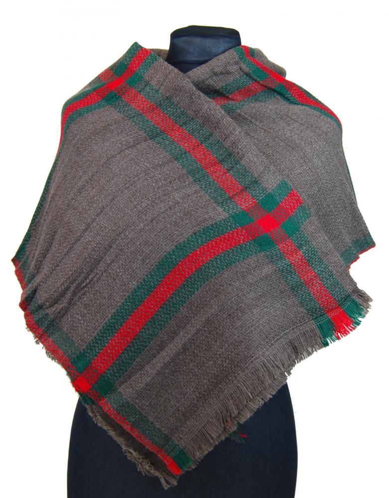 NEW BERRY dámsky pletený šál / pléd BC717 hnedosivá