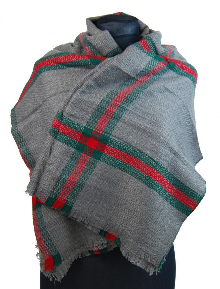 NEW BERRY dámsky pletený šál / pléd BC717 stredno sivý