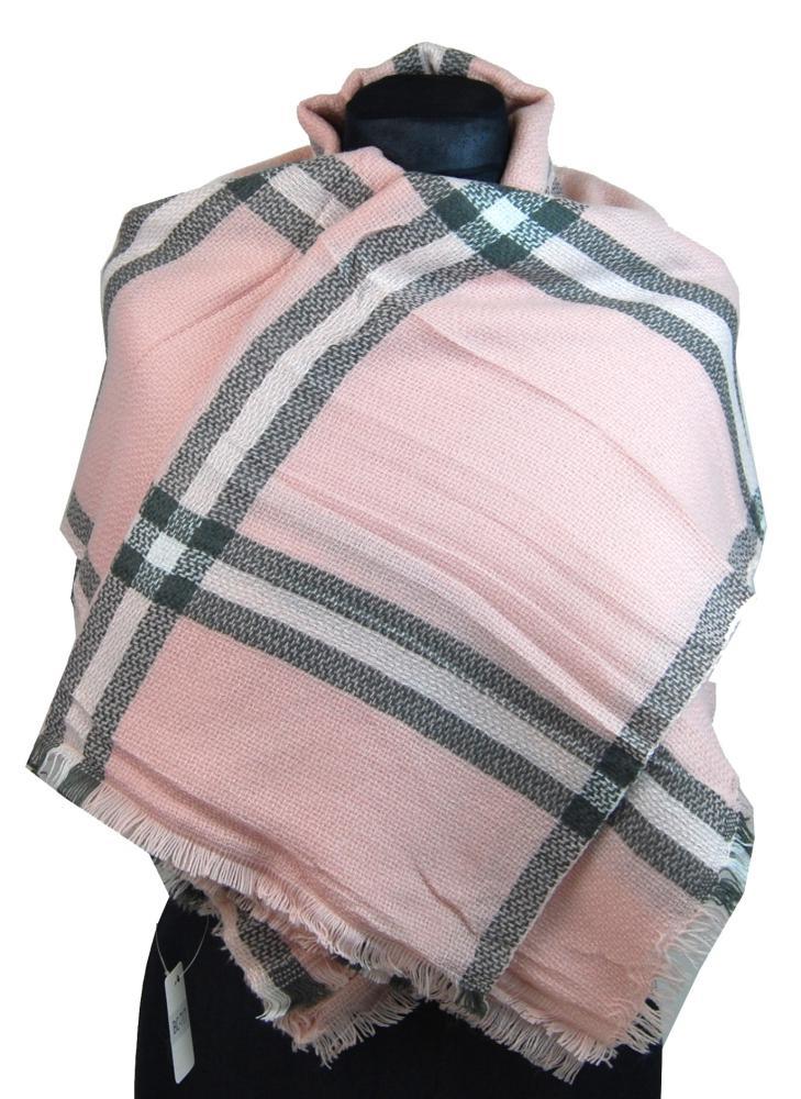 NEW BERRY dámsky pletený šál / pléd BC717 ružový